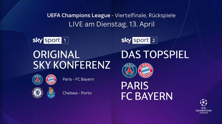 So you can watch the CL's quarter-finals live on Sky.