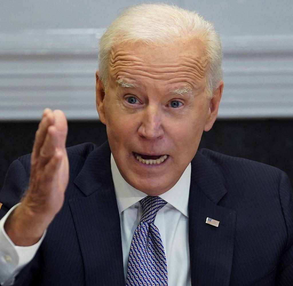 US President Biden participates in the hypothetical CEO summit at the White House in Washington