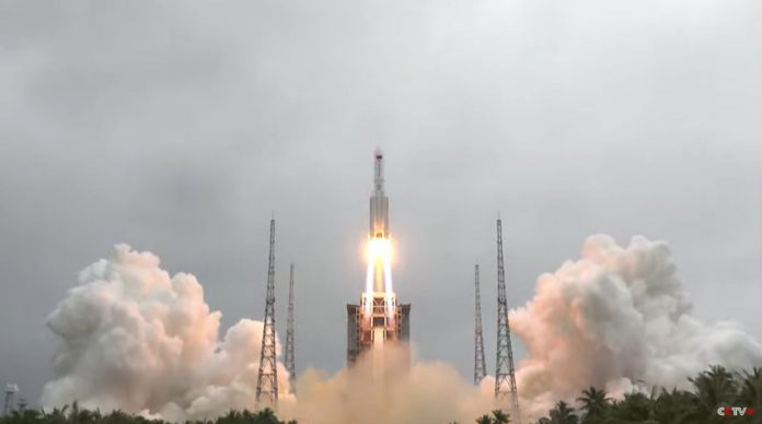 A giant rocket appears to be ready for an uncontrolled return after the Chinese space station launch