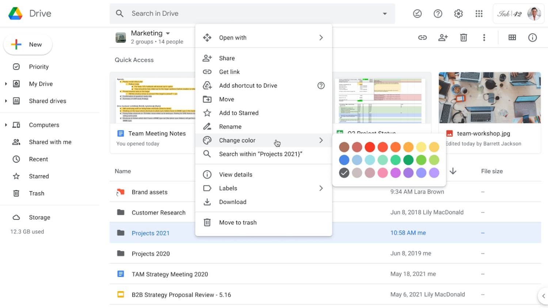 google drive folder colors