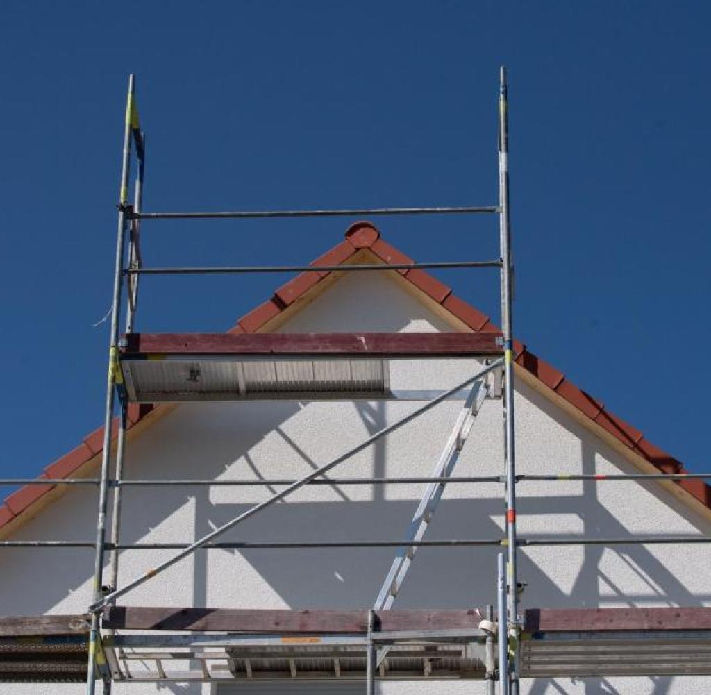 Scaffolding on a house in a new residential area