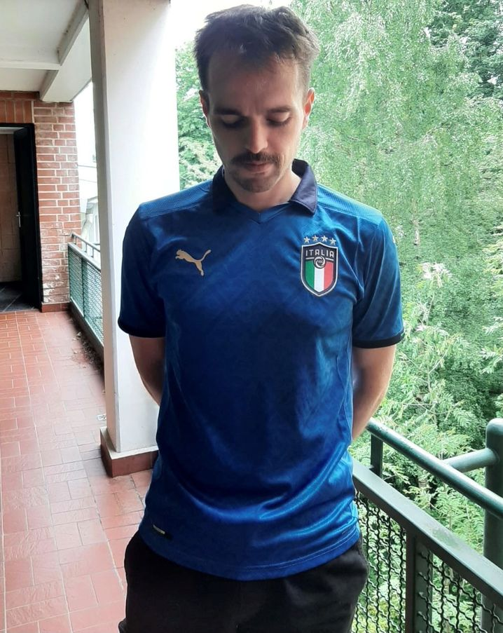 Guilty look: the author in the Italian jersey
