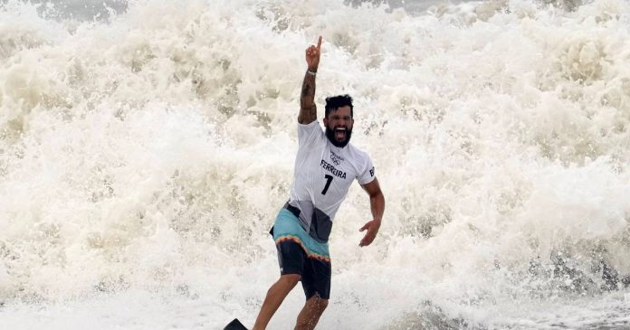 Brazilian Ferreira becomes the first Olympic champion in surfing