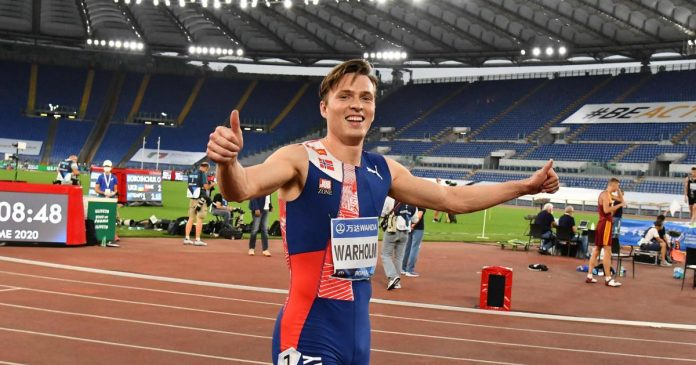The Norwegian breaks the old world record in the more than 400 meters hurdles
