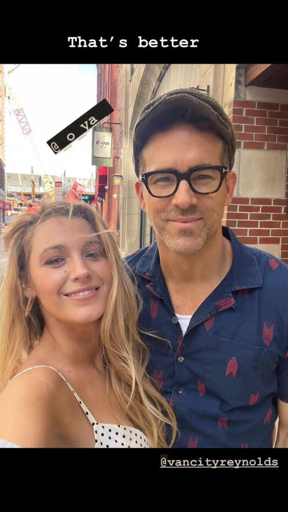 Blake Lively shares a cute snapshot of her date with Ryan Reynolds.