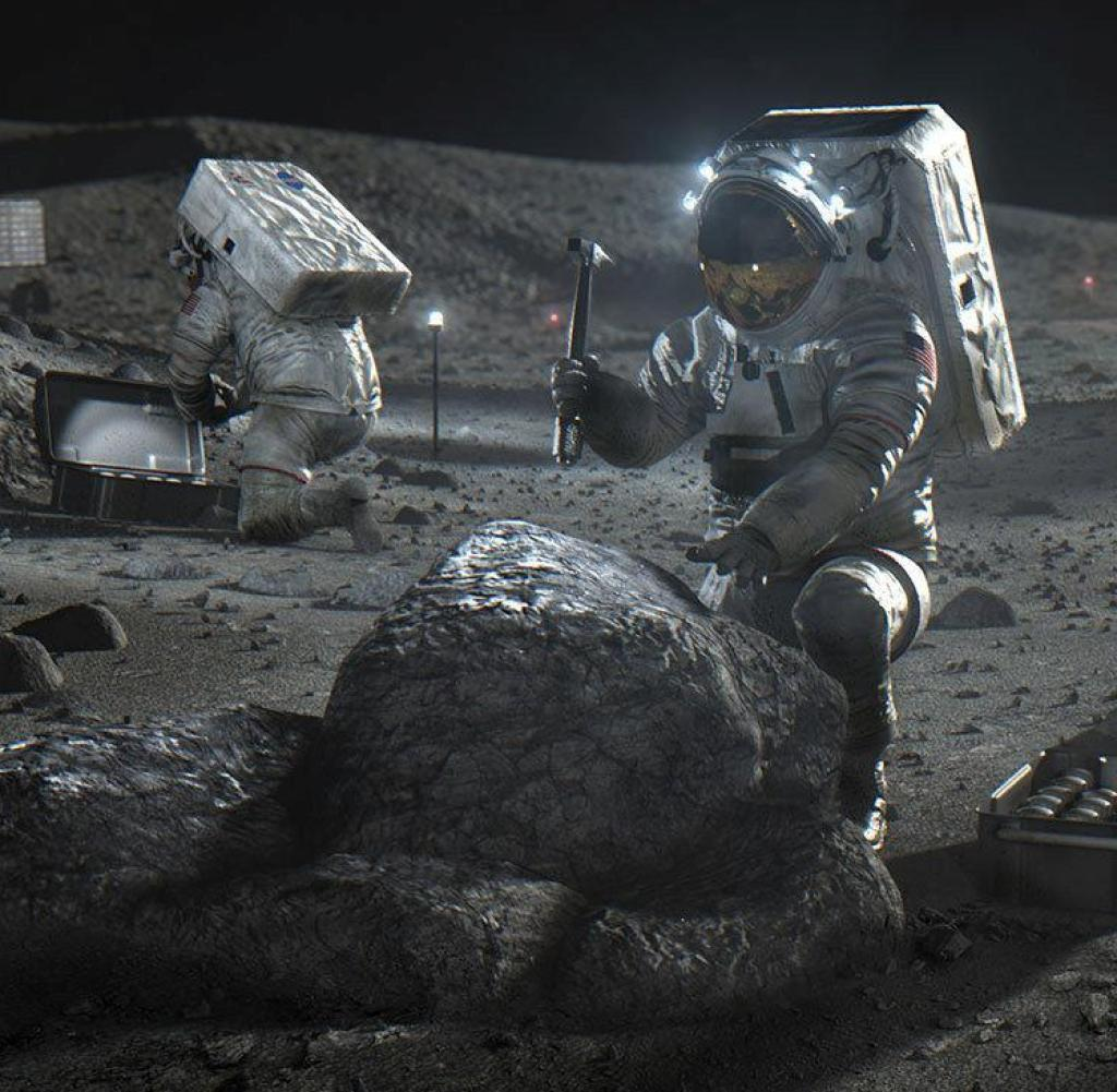This April 2020 illustration made available by NASA depicts Artemis astronauts on the lunar surface.  On Thursday, April 30, 2020, NASA announced the three companies that will develop, build and fly lunar landers, with the aim of returning astronauts to the moon by 2024.
