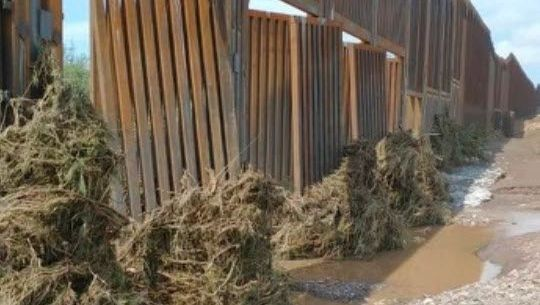 Donald Trump: The border wall with Mexico appears to have been badly damaged by desert rain