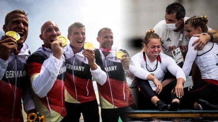 Der Kajak-Vierer aus Deutschland mit Max Rendschmidt, Ronald Rauhe, Tom Liebscher und Max Lemke jubelt über Gold (links). Das Canadier-Duo Lisa Jahn und Sophie Koch landet nur auf Rang vier.