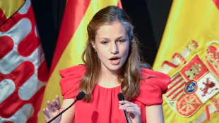 Spanish Princess Leonor speaking at an institution