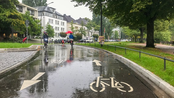 Two people drive their bikes through the outdoor Ulster in Hamburg.  D NTR Photo: John Mல்லller