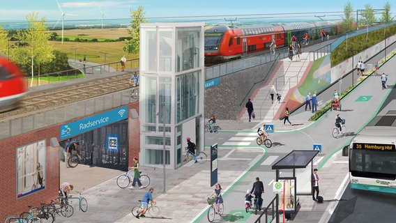 A visualization shows a planned cycle path at a train station.