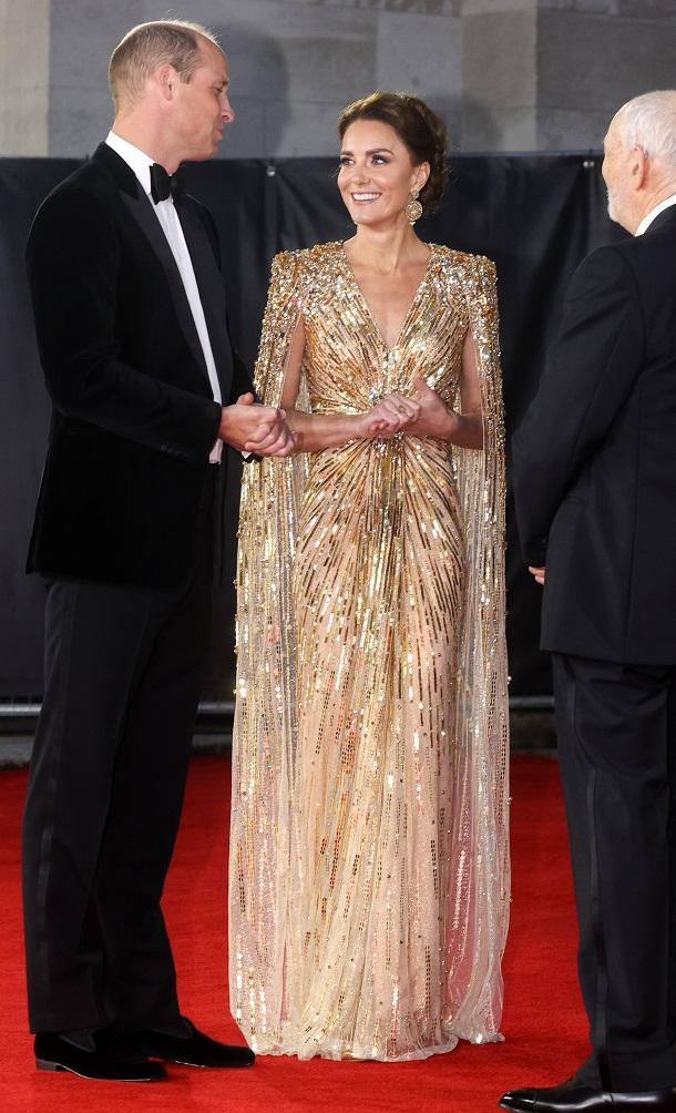 Duchess Kate chose a gold Jenny Packham dress.  (Source: Chris Jackson/Getty Images)