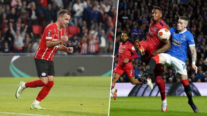 Ein Tor und eine Vorlage von Mario Götze (l.) reichten nicht für einen Sieg der PSV Eindhoven. Jerome Boateng (r.) feierte ein erfolgreiches Startelf-Debüt für Olympique Lyon.