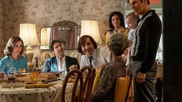 "Young Tony Soprano (Michael Gandolfini, center) climbs to ""family business"" a."