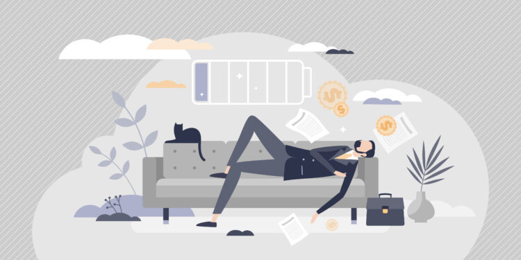 Comic style depiction of a man in a suit taking a nap on the sofa.