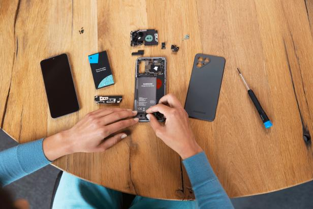 Fairphone disassembled with modular components
