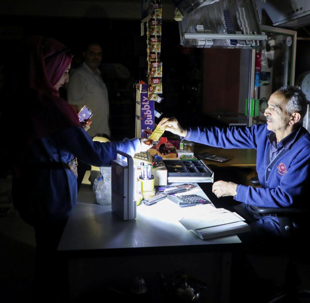 Emergency lighting keeps this Lebanese store running